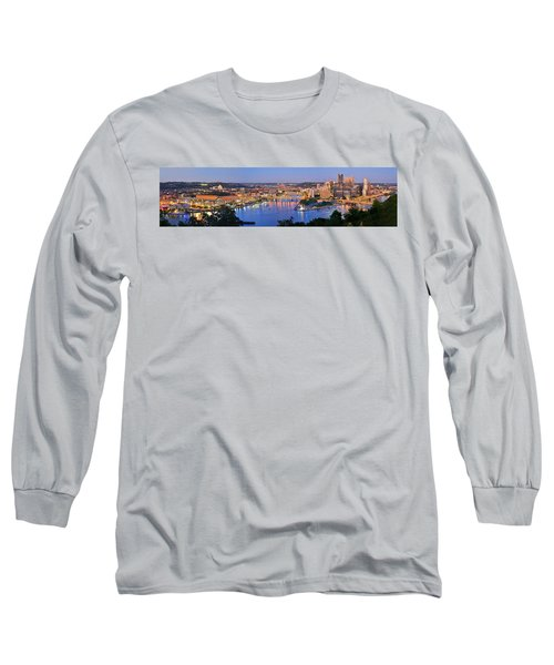 Pittsburgh Pennsylvania Skyline At Dusk Sunset Extra Wide Panorama Long Sleeve T-Shirt by Jon Holiday