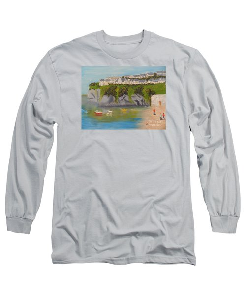 Long Sleeve T-Shirt featuring the painting Port Asaac Cornwell by Pamela  Meredith