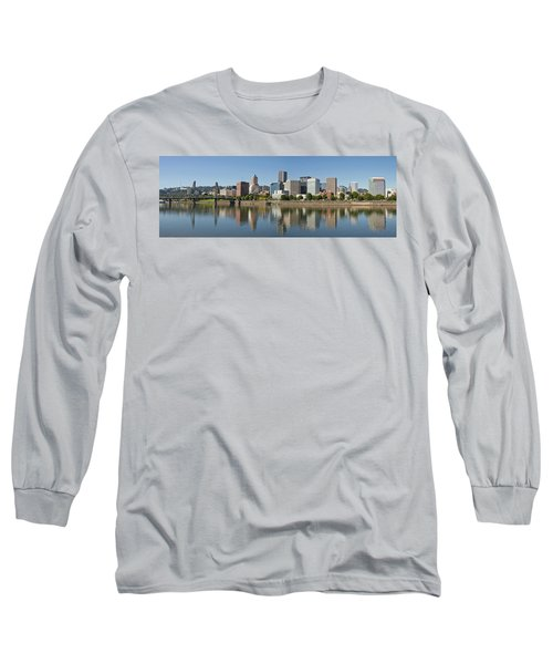 Long Sleeve T-Shirt featuring the photograph Portland Downtown Waterfront Skyline Panorama by JPLDesigns