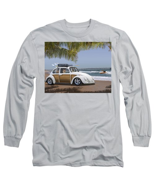 Postcards From Otis - Beach Corgis Long Sleeve T-Shirt by Mike McGlothlen