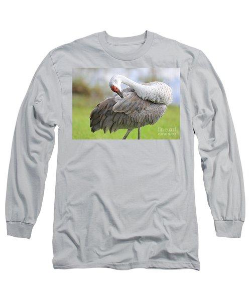 Preener Sandhill Crane Long Sleeve T-Shirt