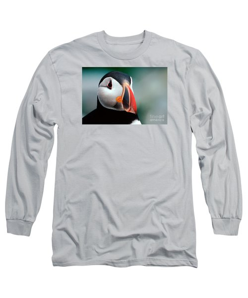 Puffin Head Shot Long Sleeve T-Shirt by Jerry Fornarotto