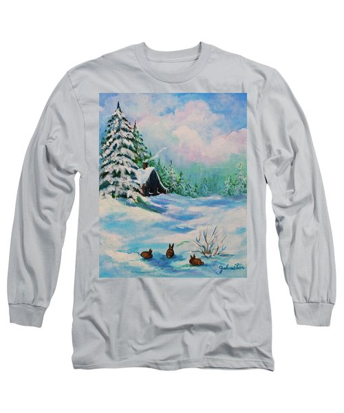 Long Sleeve T-Shirt featuring the painting Rabbits Waiting For Spring by Bob and Nadine Johnston