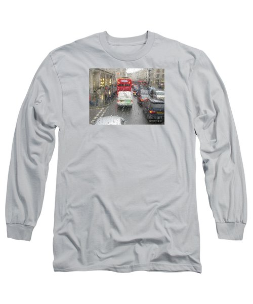 Rainy Day London Traffic Long Sleeve T-Shirt by Ann Horn