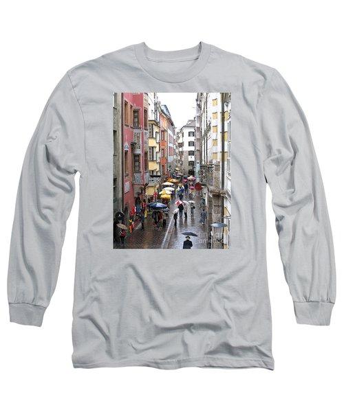 Rainy Day Shopping Long Sleeve T-Shirt by Ann Horn