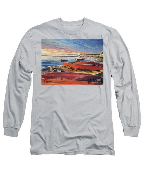 Red Canoe Sunset Long Sleeve T-Shirt