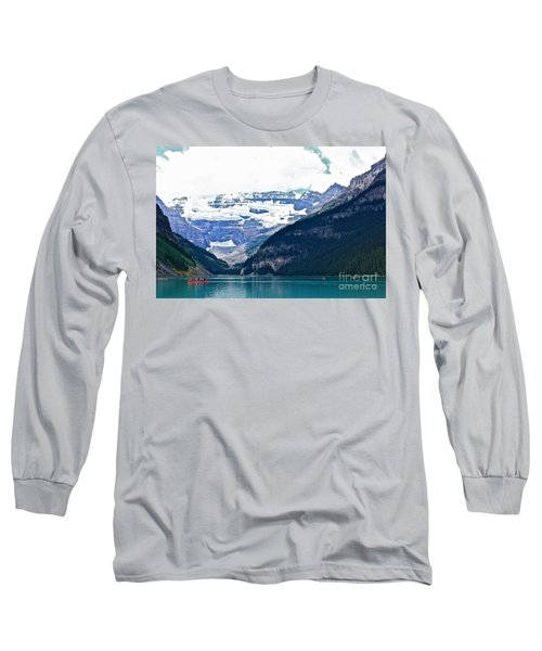 Red Canoes Turquoise Water Long Sleeve T-Shirt