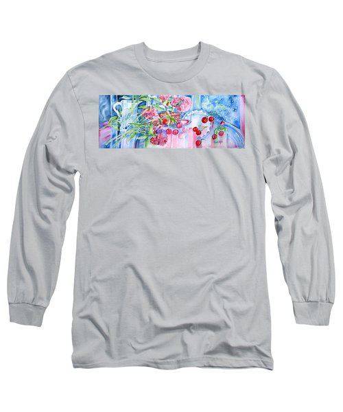 Red Cherries And Sweet William Long Sleeve T-Shirt by Trudi Doyle