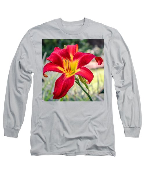 Long Sleeve T-Shirt featuring the photograph Red Daylily by Rob Sellers