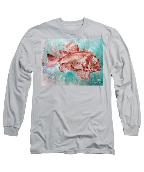 Long Sleeve T-Shirt featuring the painting Red Fish by Jasna Dragun