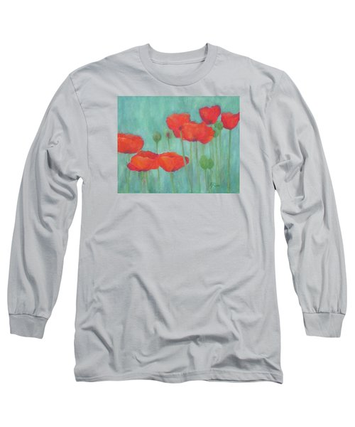 Red Poppies Colorful Poppy Flowers Original Art Floral Garden  Long Sleeve T-Shirt
