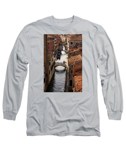 Red Roofs Of Venice Long Sleeve T-Shirt by Georgia Mizuleva