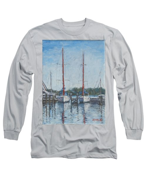 Red Sails Under Gray Sky Long Sleeve T-Shirt