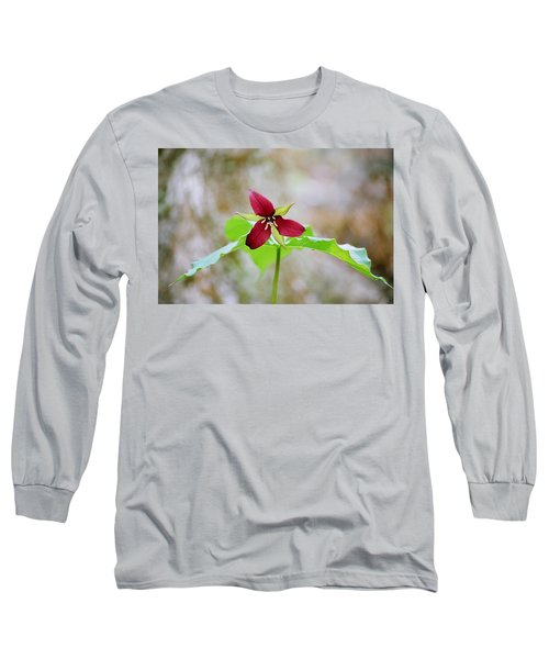 Red Trillium Long Sleeve T-Shirt by David Porteus