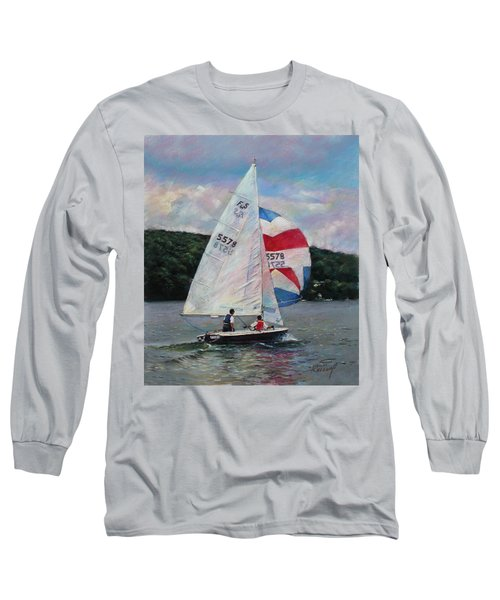 Long Sleeve T-Shirt featuring the drawing Red White And Blue Sailboat by Viola El