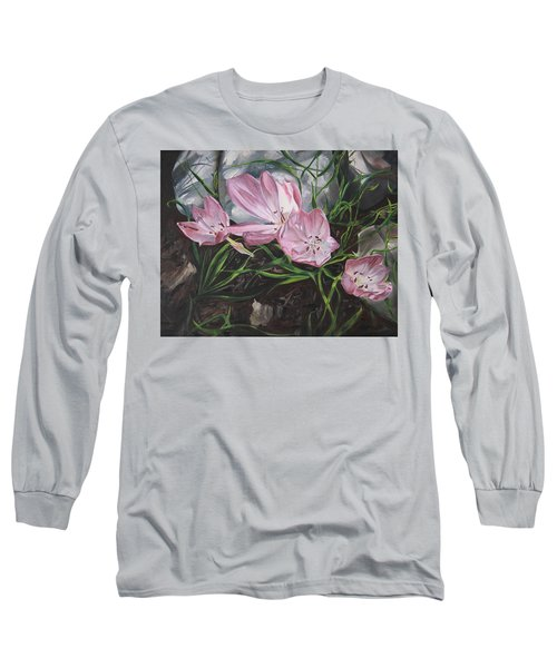 Long Sleeve T-Shirt featuring the painting Resurrection Lilies by Jane Autry
