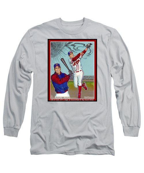 Long Sleeve T-Shirt featuring the mixed media Roberto Alomar Hall Of Fame by Ray Tapajna