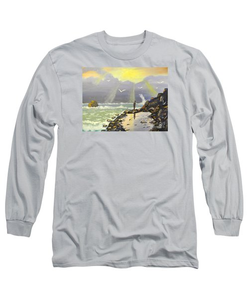 Long Sleeve T-Shirt featuring the painting Rock Fishing At Wombarra  by Pamela  Meredith