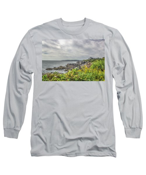 Long Sleeve T-Shirt featuring the photograph Rocky Maine Shoreline by Jane Luxton