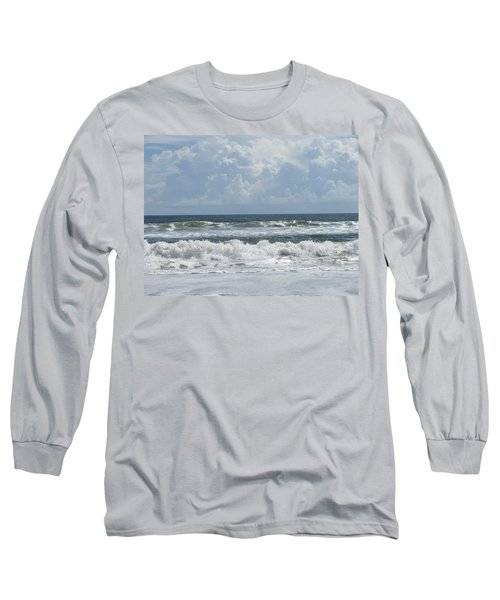 Rolling Clouds And Waves Long Sleeve T-Shirt by Ellen Meakin