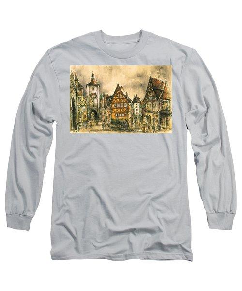 Rothenburg Bavaria Germany - Romantic Watercolor Long Sleeve T-Shirt