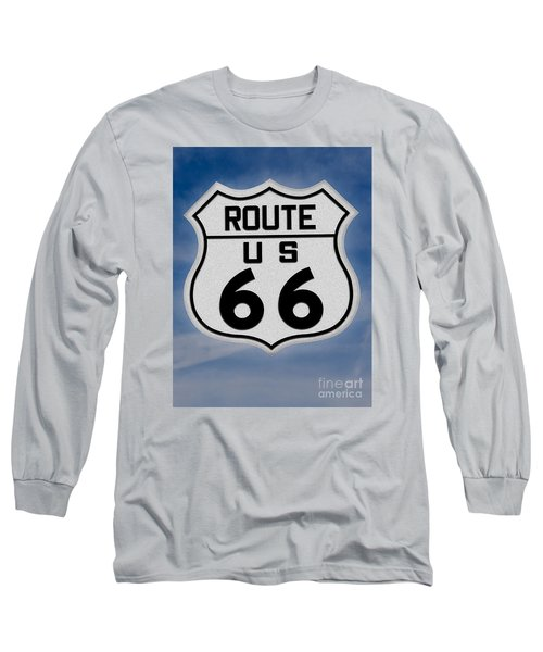 Route 66 Road Sign Long Sleeve T-Shirt by Gary Warnimont