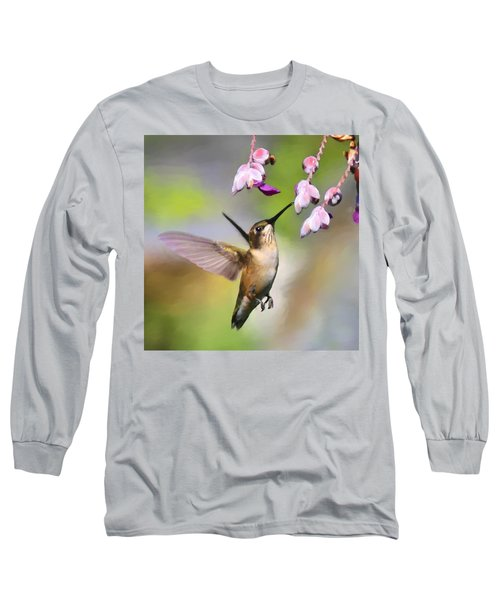 Ruby-throated Hummingbird - Digital Art Long Sleeve T-Shirt