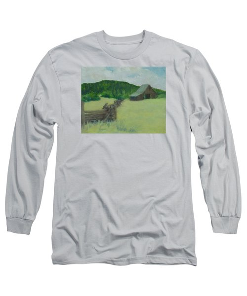 Rural Landscape Colorful Oil Painting Barn Fence Long Sleeve T-Shirt by Elizabeth Sawyer