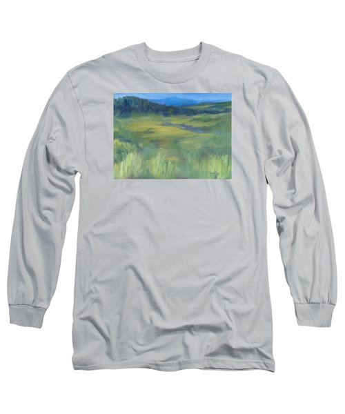 Rural Valley Landscape Colorful Original Painting Washington State Water Mountains K. Joann Russell Long Sleeve T-Shirt by Elizabeth Sawyer