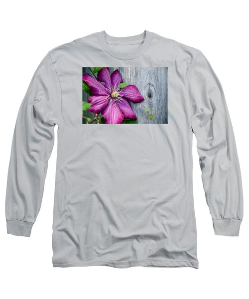 Long Sleeve T-Shirt featuring the photograph Rustic Clematis by Susan  McMenamin
