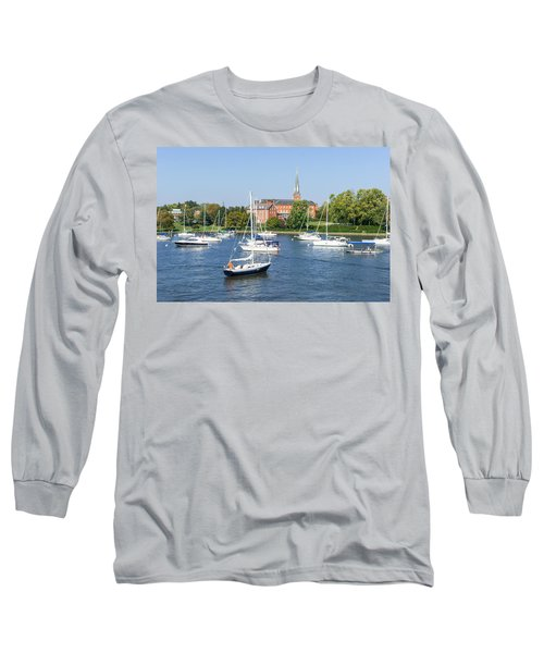 Long Sleeve T-Shirt featuring the photograph Sailboats By Charles Carroll House by Charles Kraus
