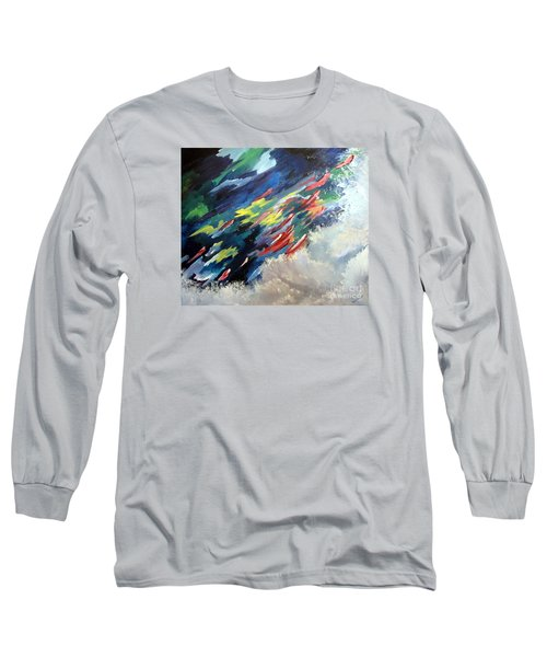 Long Sleeve T-Shirt featuring the painting Salmon Run by Carol Sweetwood
