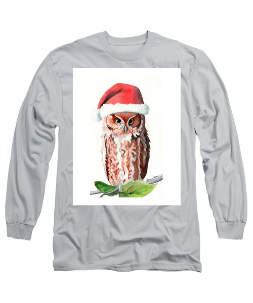 Long Sleeve T-Shirt featuring the painting Santa Owl by LeAnne Sowa