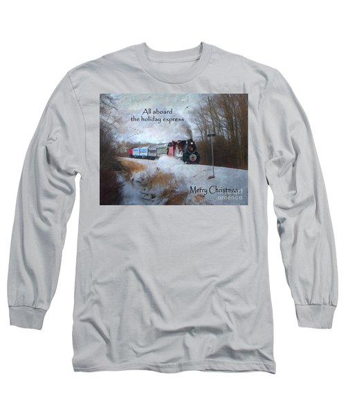 Long Sleeve T-Shirt featuring the digital art Santa Train - Waterloo Central Railway by Lianne Schneider
