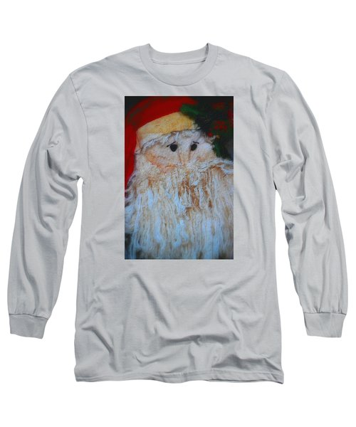 Santa With Button Eyes Long Sleeve T-Shirt by Nadalyn Larsen