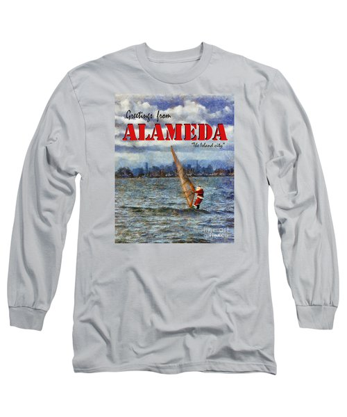 Long Sleeve T-Shirt featuring the photograph Alameda Santa's Greetings by Linda Weinstock