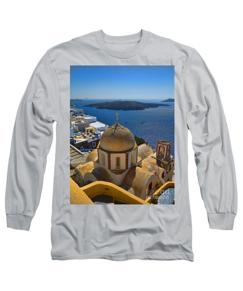 Santorini Caldera With Church And Thira Village Long Sleeve T-Shirt