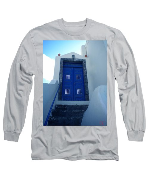 Long Sleeve T-Shirt featuring the photograph Santorini Door  To Heaven  by Colette V Hera  Guggenheim