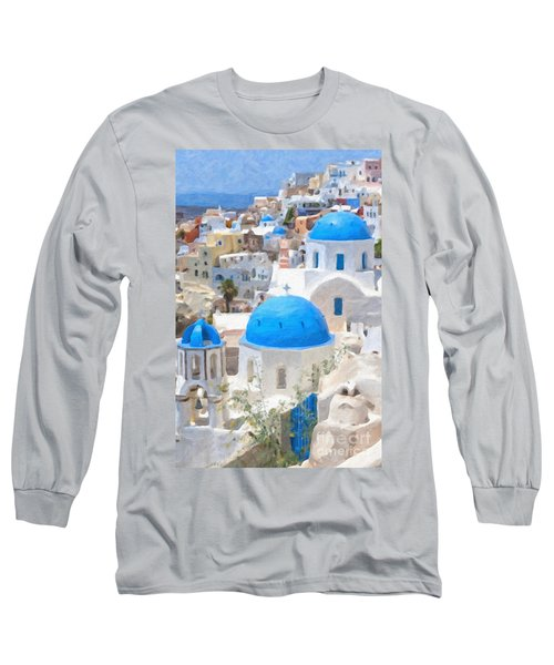 Santorini Oil Painting Long Sleeve T-Shirt by Antony McAulay