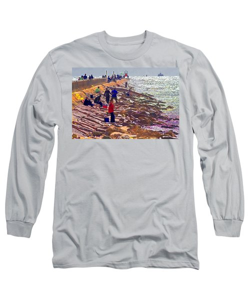Long Sleeve T-Shirt featuring the photograph Saturday Morning On The Surfside Jetty by Gary Holmes