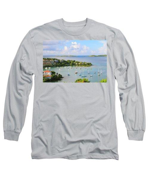 Scenic Overlook Of Cruz Bay St. John Usvi Long Sleeve T-Shirt