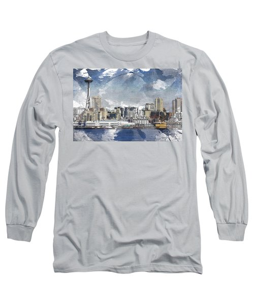 Seattle Skyline Freeform Long Sleeve T-Shirt