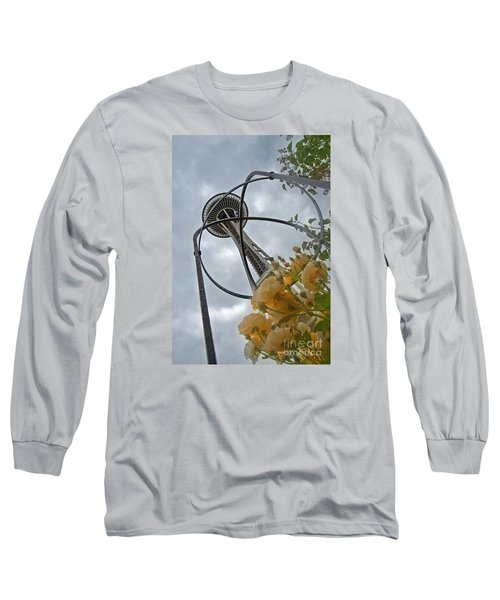 Seattle Spaceneedle With Watercolor Effect Yellow Roses Long Sleeve T-Shirt by Valerie Garner