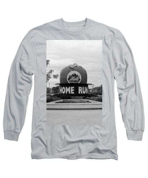 Shea Stadium Home Run Apple In Black And White Long Sleeve T-Shirt