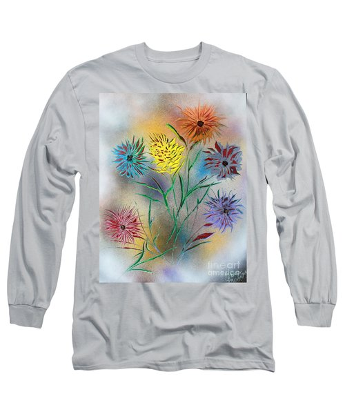 Long Sleeve T-Shirt featuring the painting Six Flowers by Greg Moores
