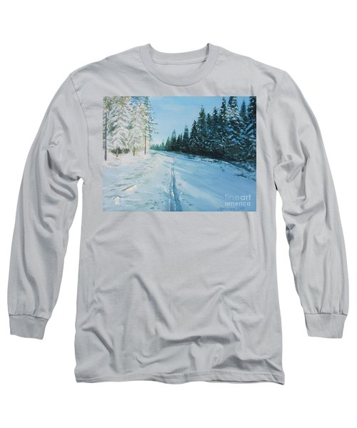 Long Sleeve T-Shirt featuring the painting Ski Tracks by Martin Howard