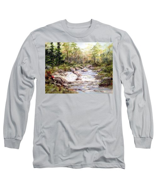 Long Sleeve T-Shirt featuring the painting Small Falls In The Forest by Dorothy Maier