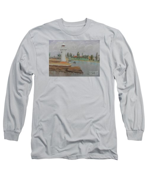 Small Lighthouse At Wollongong Harbour Long Sleeve T-Shirt by Pamela  Meredith