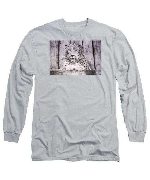 Long Sleeve T-Shirt featuring the photograph White Snow Leopard Chillin by Belinda Lee