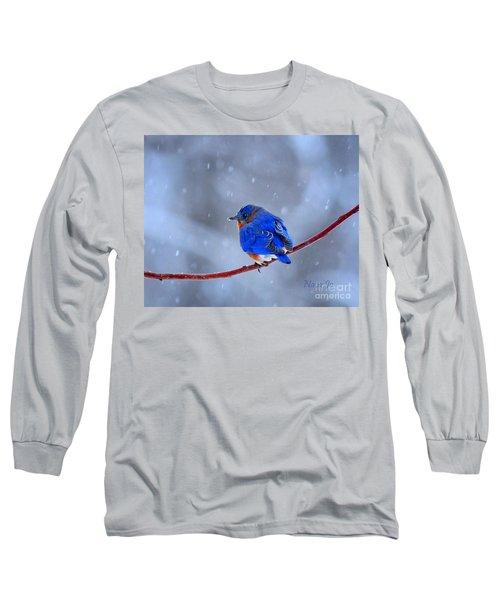 Snowy Bluebird Long Sleeve T-Shirt